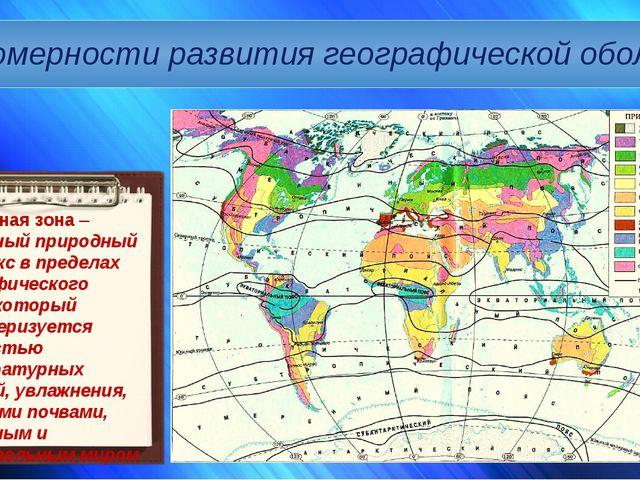Закономерности развития географической оболочки Природная зона – зональный пр...
