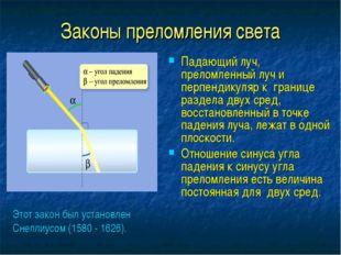 Законы преломления света Падающий луч, преломленный луч и перпендикуляр к гра