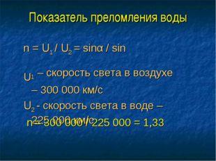 Показатель преломления воды n = U1 / U2 = sinα / sinβ U1 – скорость света в в