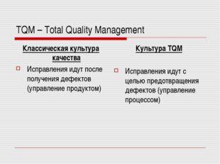 TQM – Total Quality Management Классическая культура качества Исправления иду