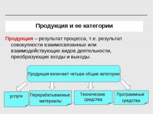 Продукция и ее категории Продукция – результат процесса, т.е. результат совок