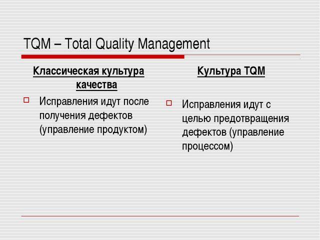 TQM – Total Quality Management Классическая культура качества Исправления иду...