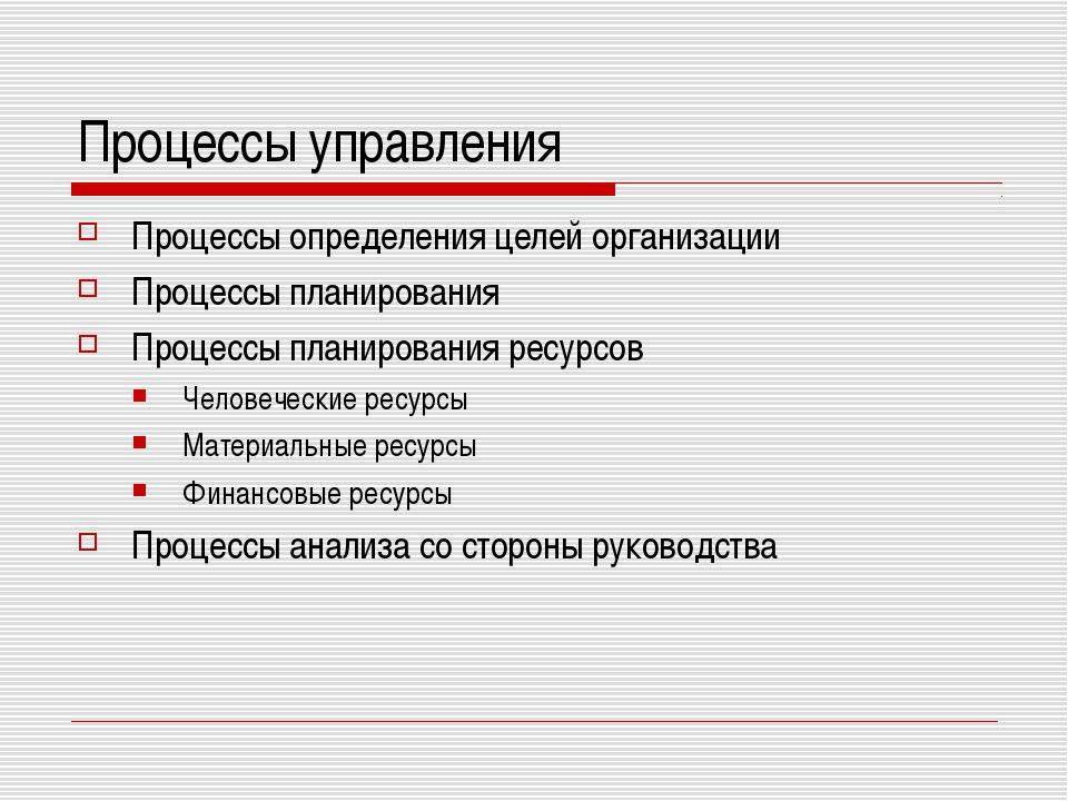 Процессы управления Процессы определения целей организации Процессы планирова...