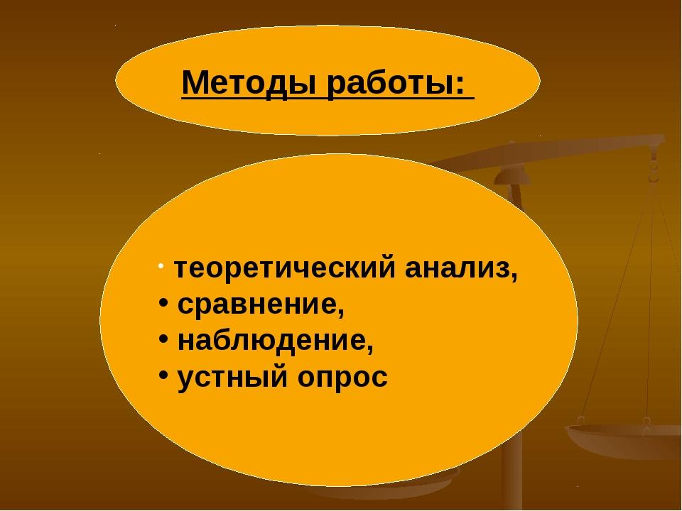 Методы работы: теоретический анализ, сравнение, наблюдение, устный опрос