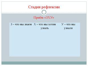 Стадия рефлексии Приём «ЗХУ» З – что мы знаем Х – что мы хотим узнать У – что