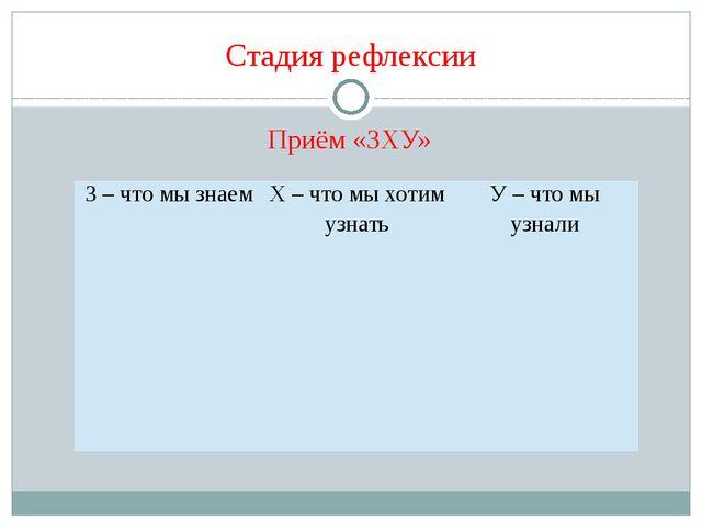 Стадия рефлексии Приём «ЗХУ» З – что мы знаем Х – что мы хотим узнать У – что...
