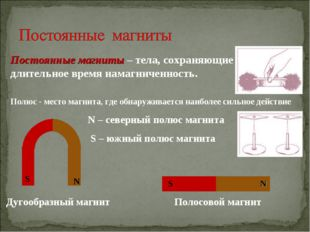 N – северный полюс магнита S – южный полюс магнита Постоянные магниты – тела,