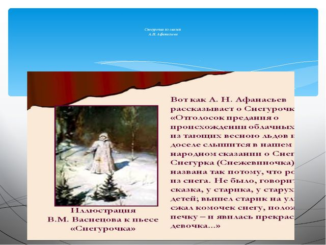 Снегурочка из сказки А.Н. Афанасьева