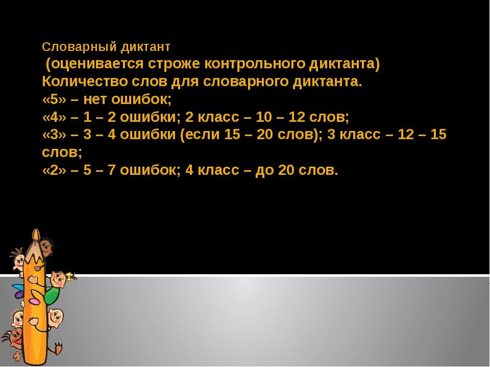 Словарный диктант (оценивается строже контрольного диктанта) Количество слов...