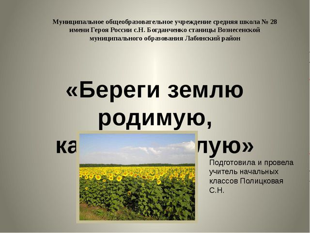 Муниципальное общеобразовательное учреждение средняя школа № 28 имени Героя Р...