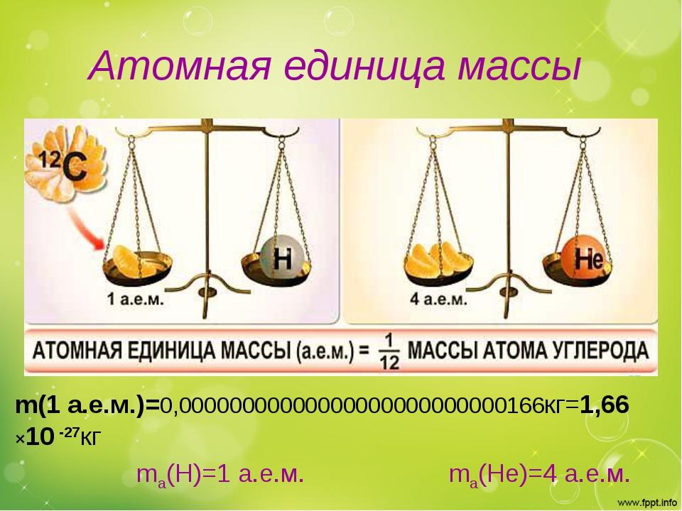 Атомная единица массы m(1 а.е.м.)=0,00000000000000000000000000166кг=1,66 ×10...