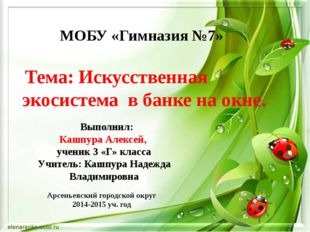МОБУ «Гимназия №7» Выполнил: Кашпура Алексей, ученик 3 «Г» класса Учитель: Ка