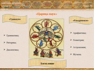 «Тривиум» «Квадривиум» Грамматика; Риторика; Диалектика; Арифметика; Геометри