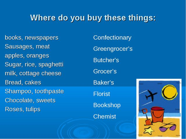 Where do you buy these things: books, newspapers Sausages, meat apples, orang...