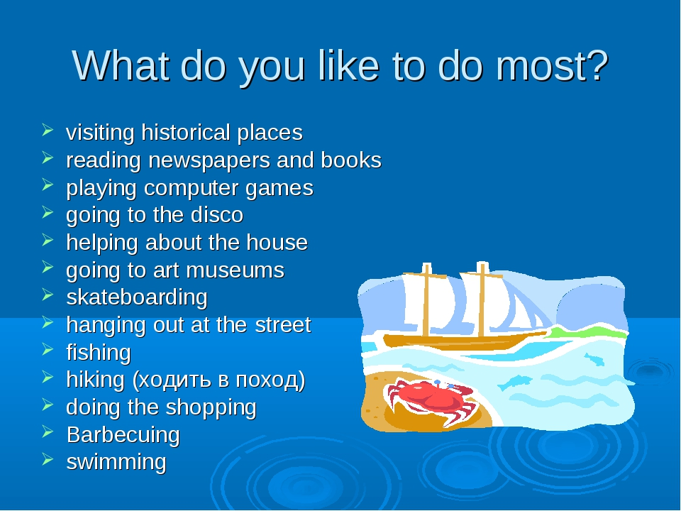 What do you like to do most? visiting historical places reading newspapers an...