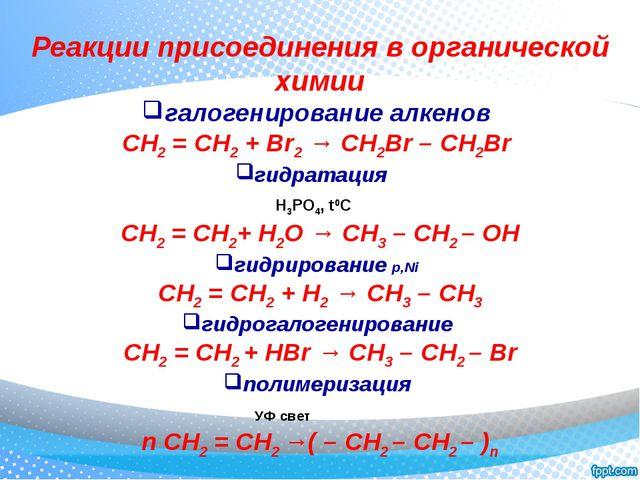Реакции присоединения в органической химии галогенирование алкенов CH2 = CH2...