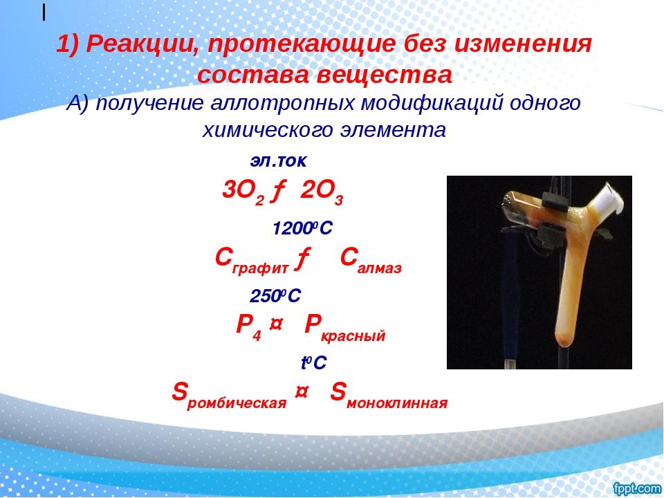 I 1) Реакции, протекающие без изменения состава вещества А) получение аллотр...