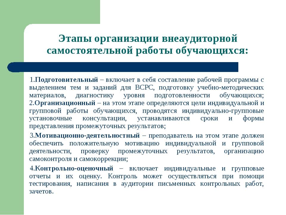 Этапы организации внеаудиторной самостоятельной работы обучающихся: 1.Подгото...