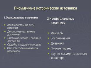 Письменные исторические источники 1.Официальные источники Законодательные акт