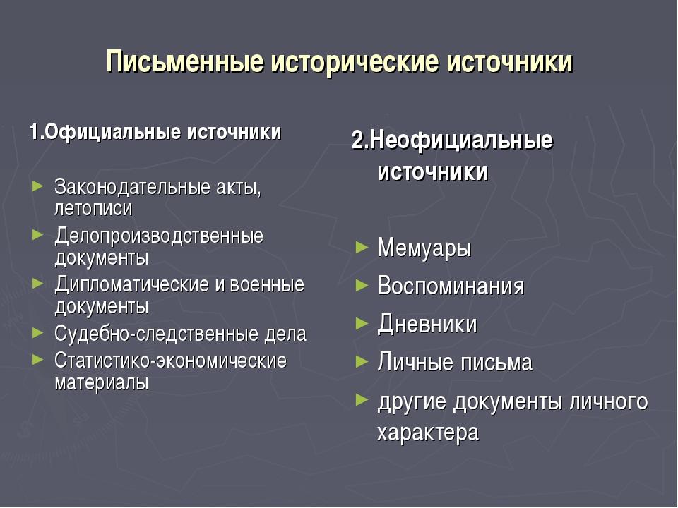 Письменные исторические источники 1.Официальные источники Законодательные акт...