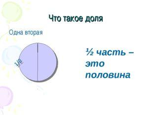 Что такое доля Одна вторая 1/2 ½ часть – это половина