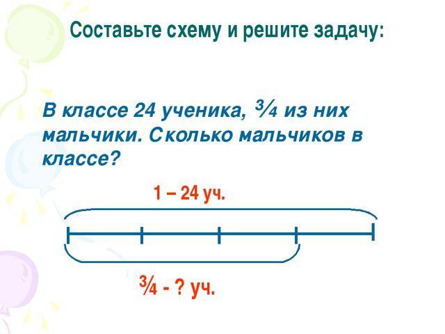 Составьте схему и решите задачу: В классе 24 ученика, ¾ из них мальчики. Скол...