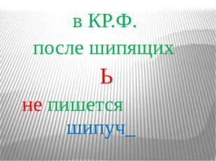 в КР.Ф. после шипящих Ь не пишется шипуч_