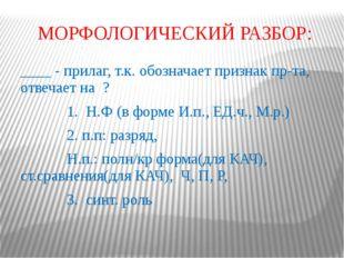 МОРФОЛОГИЧЕСКИЙ РАЗБОР: ____ - прилаг, т.к. обозначает признак пр-та, отвечае