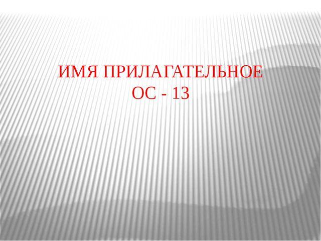 ИМЯ ПРИЛАГАТЕЛЬНОЕ ОС - 13