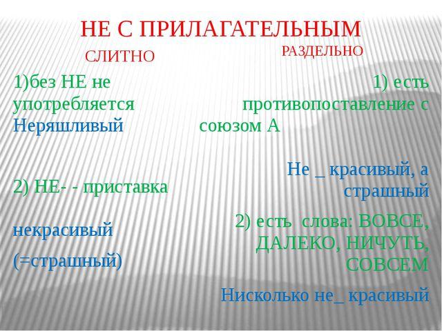 НЕ С ПРИЛАГАТЕЛЬНЫМ СЛИТНО РАЗДЕЛЬНО 1)без НЕ не употребляется Неряшливый 2)...