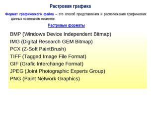 Растровая графика Формат графического файла – это способ представления и расп