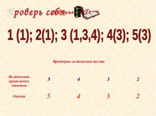 Задание 3 Тест Критерии самооценки теста Количество правильных ответов543