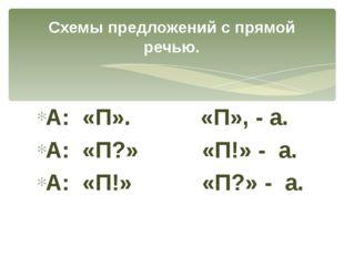 А: «П». «П», - а. А: «П?» «П!» - а. А: «П!» «П?» - а. Схемы предложений с пря