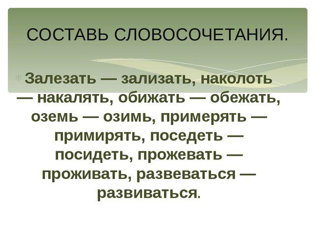 Залезать — зализать, наколоть — накалять, обижать — обежать, оземь — озимь, п...