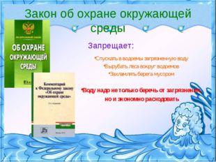 Закон об охране окружающей среды Запрещает: Спускать в водоемы загрязненную в