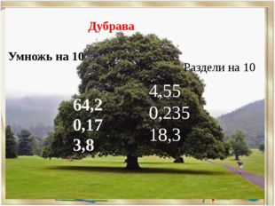 4,55 0,235 18,3, 64,2 0,17 3,8 Умножь на 10 Раздели на 10 Дубрава