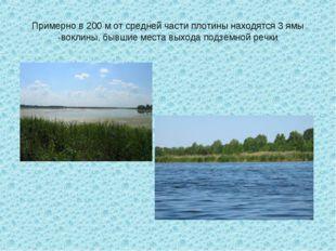 Примерно в 200 м от средней части плотины находятся 3 ямы -воклины, бывшие ме