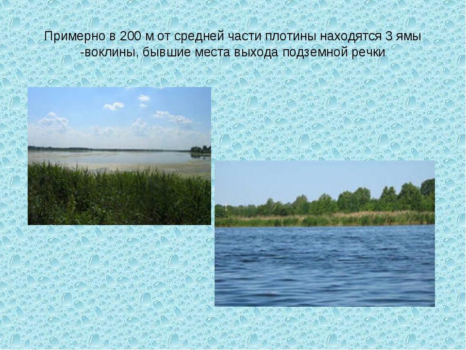 Примерно в 200 м от средней части плотины находятся 3 ямы -воклины, бывшие ме...