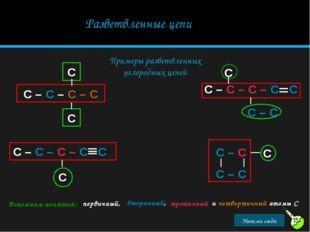 Разветвленные цепи Примеры разветвленных углеродных цепей Вспомним понятия: п