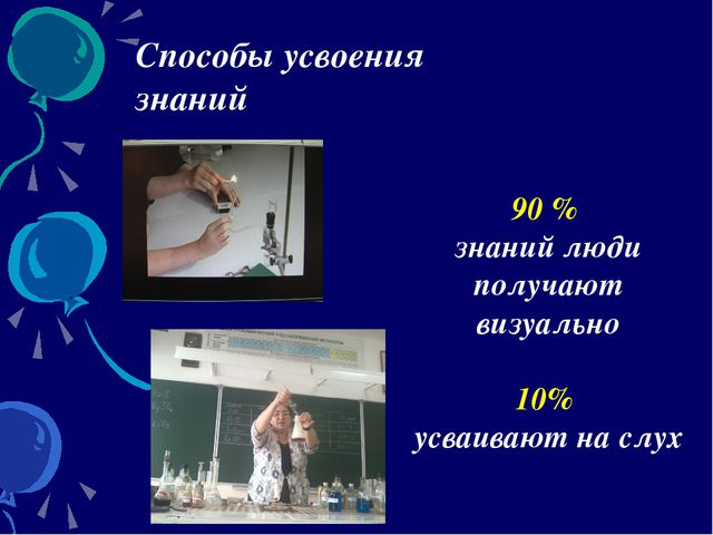 Способы усвоения знаний 90 % знаний люди получают визуально 10% усваивают на...