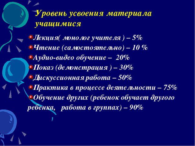 Уровень усвоения материала учащимися Лекция( монолог учителя ) – 5% Чтение (с...