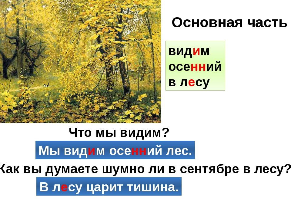Что мы видим? Мы видим осенний лес. Как вы думаете шумно ли в сентябре в лесу...