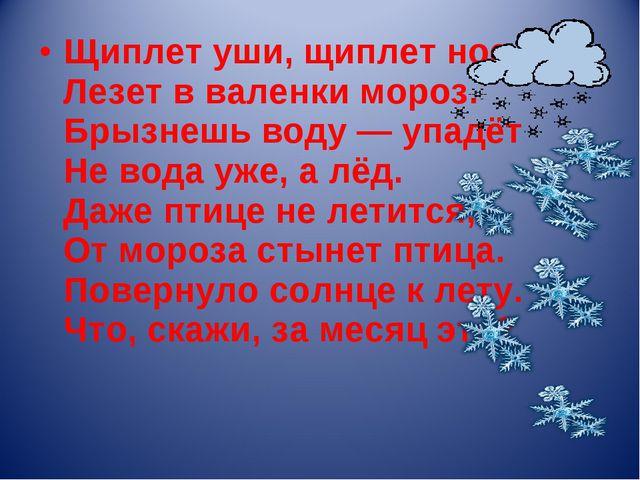 Щиплет уши, щиплет нос, Лезет в валенки мороз. Брызнешь воду — упадёт Не вода...