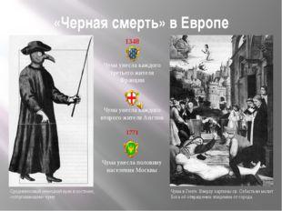 «Черная смерть» в Европе 1348 Чума унесла каждого третьего жителя Франции Чум