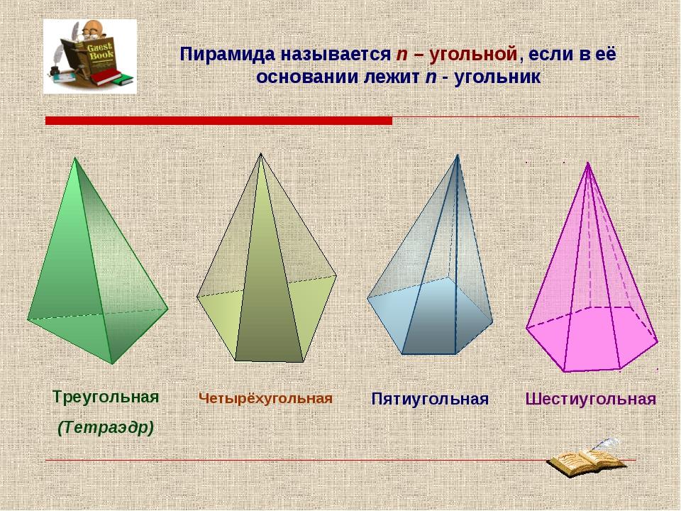 Пирамида называется n – угольной, если в её основании лежит n - угольник