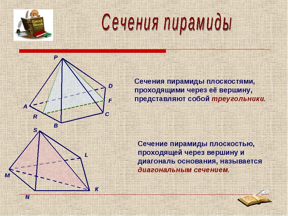 Сечение пирамиды плоскостью, проходящей через вершину и диагональ основания,...