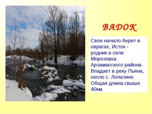 Свое начало берет в оврагах, Исток - родник в селе Морозовка Арзамасского рай