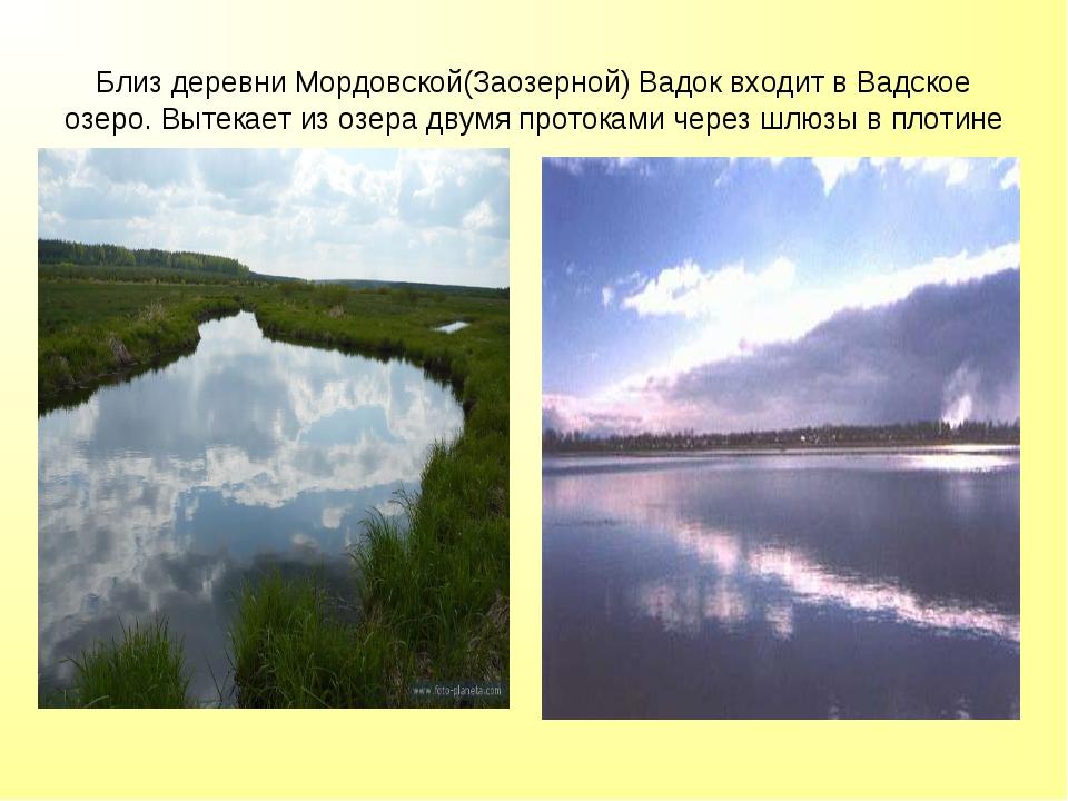 Близ деревни Мордовской(Заозерной) Вадок входит в Вадское озеро. Вытекает из...