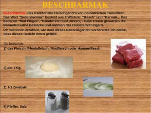 BESCHBARMAK Beschbarmak- das traditionelle Fleischgericht von nomadischen Tur