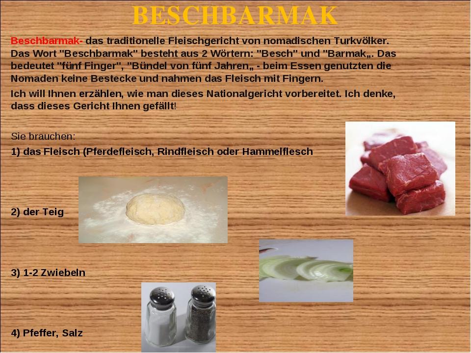 BESCHBARMAK Beschbarmak- das traditionelle Fleischgericht von nomadischen Tur...